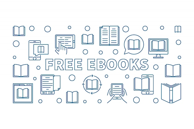 Kostenlose ebooks horizontale symbol illustration im outine-stil Premium Vektoren