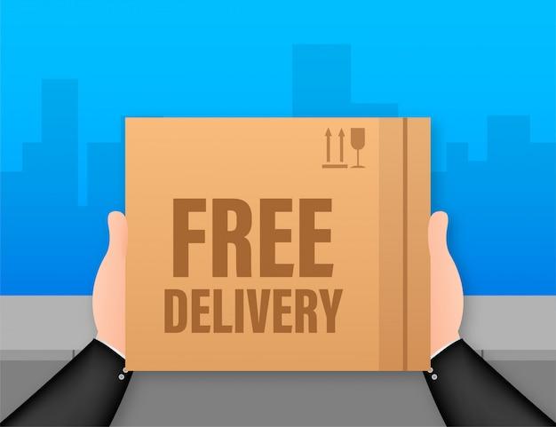 Kostenlose lieferung. web-banner für lieferservices und e-commerce. lager illustration. Premium Vektoren