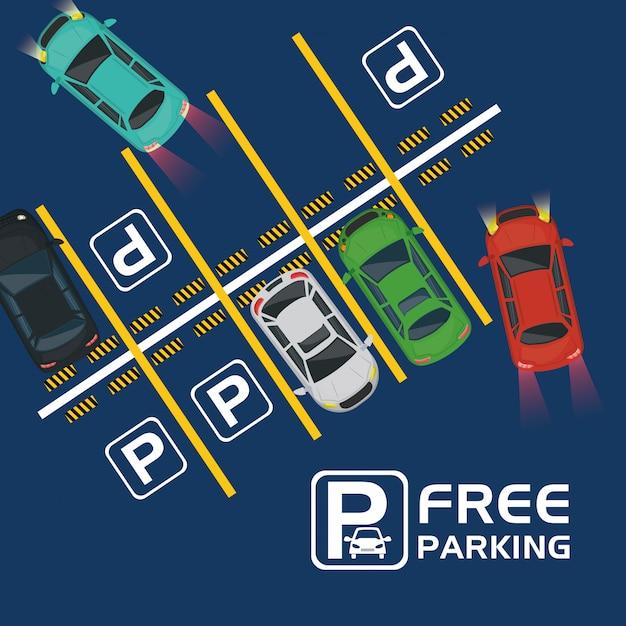 Kostenlose parkplätze mit blick auf die luft Premium Vektoren