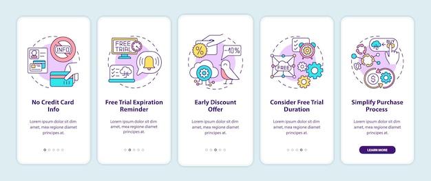 Kostenlose saas-test-marketing-tipps zum einbinden des seitenbildschirms für mobile apps mit konzepten. keine kreditinformationen, rabatt bieten exemplarische vorgehensweisen. ui-vorlage mit rgb-farbe Premium Vektoren