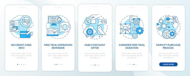 Kostenlose saas-testversion marketing onboarding mobile app seite bildschirm mit konzepten. ohne kreditkarteninformationen werden die grafischen anweisungen für walkthrough-schritte für rabatte ausgeführt. ui-vorlage mit rgb-farbabbildungen Premium Vektoren