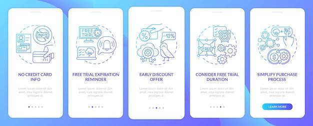 Kostenlose saas-testversion zum onboarding des seitenbildschirms für mobile apps mit konzepten. ablauferinnerung, walkthrough zur dauer 5 schritte. ui-vorlage mit rgb-farbe Premium Vektoren