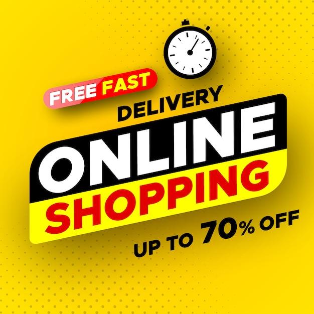 Kostenlose schnelle lieferung online-shopping-banner. verkauf, bis zu 70% rabatt. Premium Vektoren
