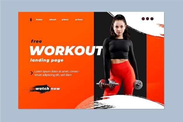 Kostenlose workout-landingpage Kostenlosen Vektoren