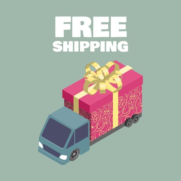 Kostenloser versand. isometrische lkw mit geschenkbox. Premium Vektoren