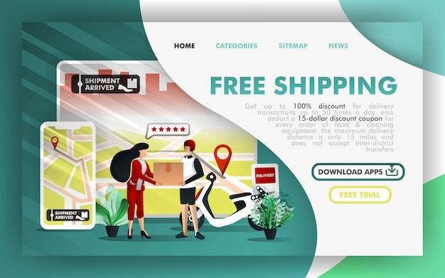 Kostenloser versand online-geschäft Premium Vektoren