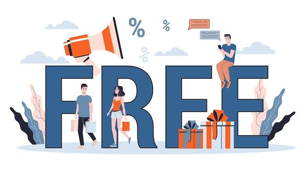 Kostenloses konzeptbanner. idee der förderung und rabatt im shop. illustration Premium Vektoren