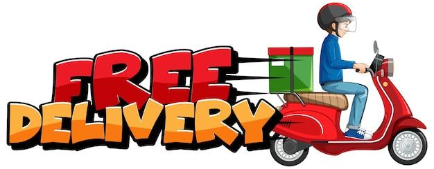 Kostenloses lieferlogo mit fahrradmann oder kurier Kostenlosen Vektoren