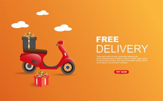 Kostenloses lieferpaket per scooter-banner-vorlage. Premium Vektoren