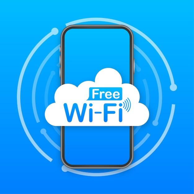 Kostenloses wifi zone blaues symbol. kostenloses wifi hier zeichen konzept. Premium Vektoren