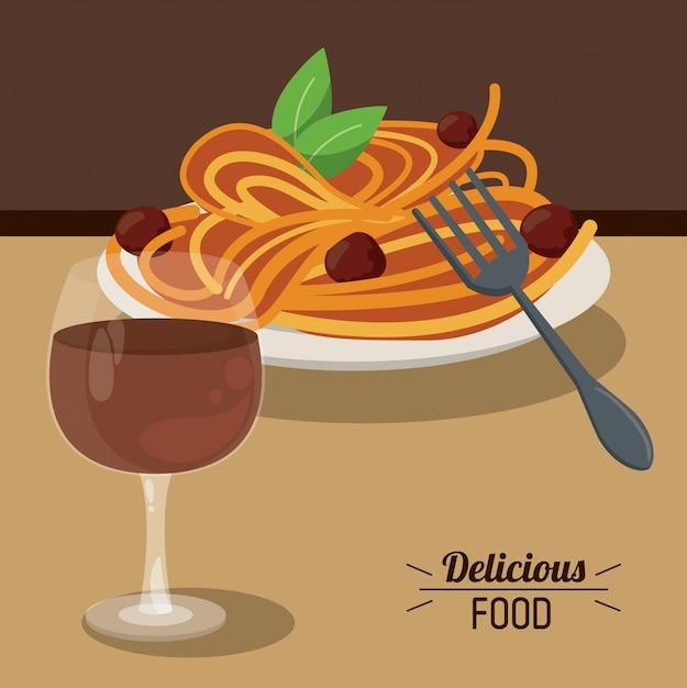 k stliche essen spaghetti fleischb llchen und glas tasse wein download der premium vektor. Black Bedroom Furniture Sets. Home Design Ideas