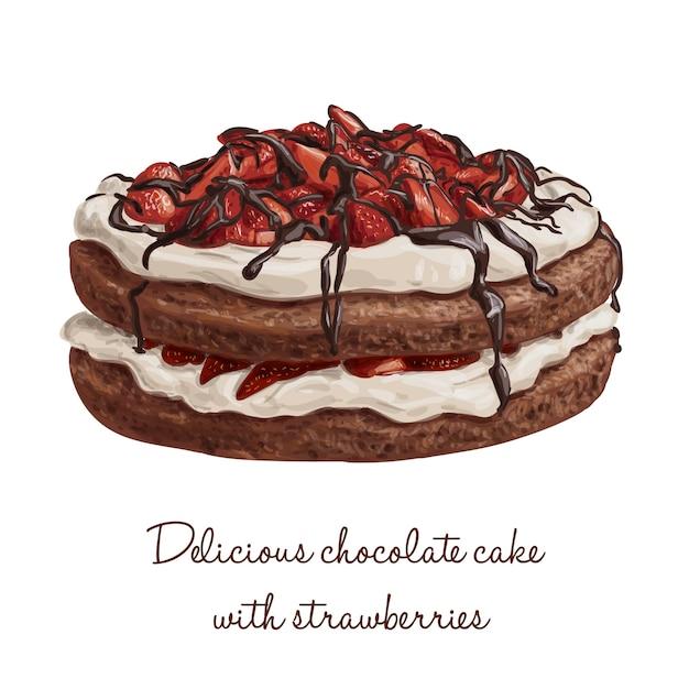 Kostliche Hand Gezeichnet Schokolade Vektor Kuchen Mit Erdbeeren