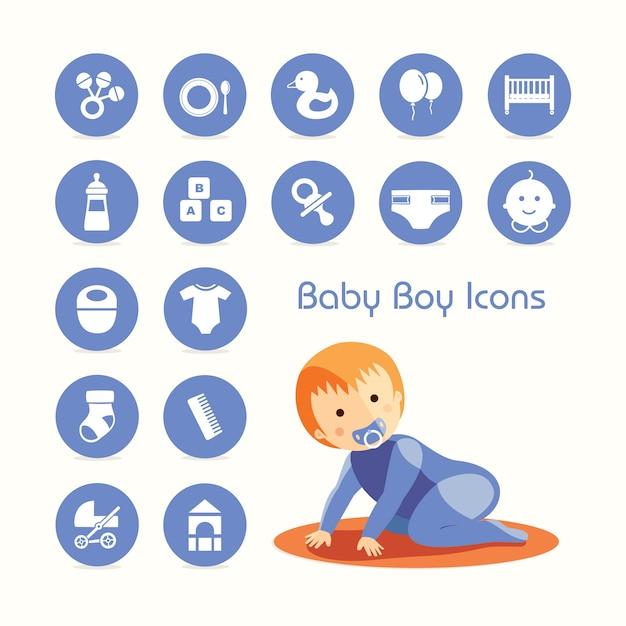 Krabbeln und ikonen des babys eingestellt Premium Vektoren