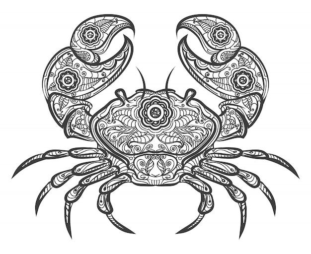 Krabben-zentangle-symbol. hand gezeichnete krabbe Premium Vektoren