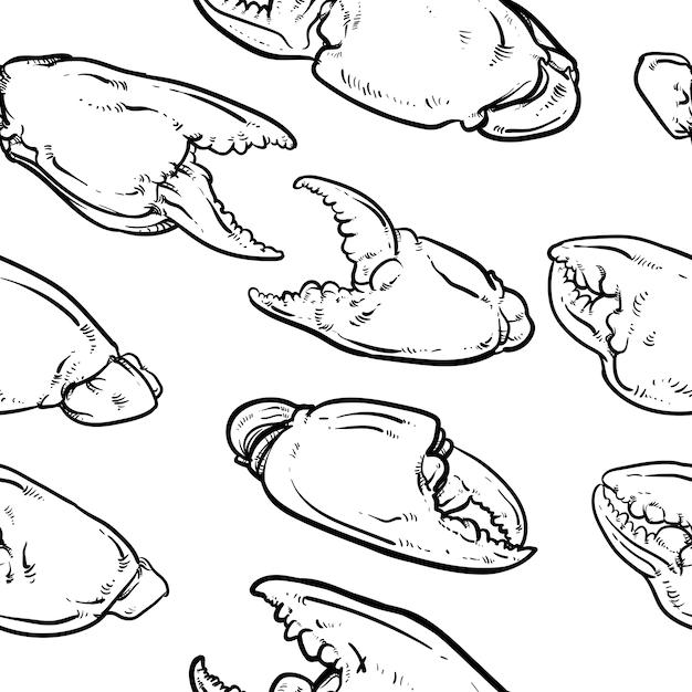 Krabbengreifermuster einschließlich nahtlos auf weißem hintergrund Premium Vektoren