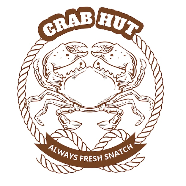 Krabbenhütten-emblem. vektor-illustration Premium Vektoren