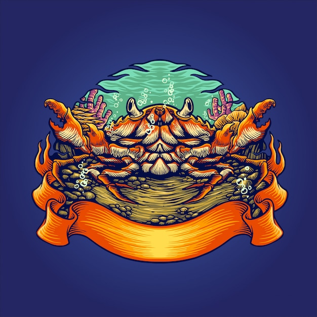 Krabbenlebensräume illustration Premium Vektoren