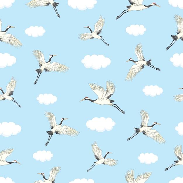 Kräne, die nahtloses muster fliegen Premium Vektoren