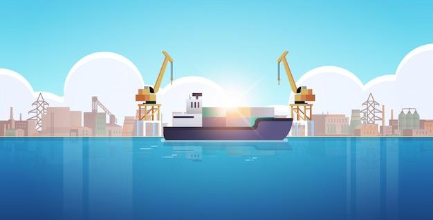 Kräne in hafenladecontainern auf schiffsladung industrie seehafen seetransport Premium Vektoren