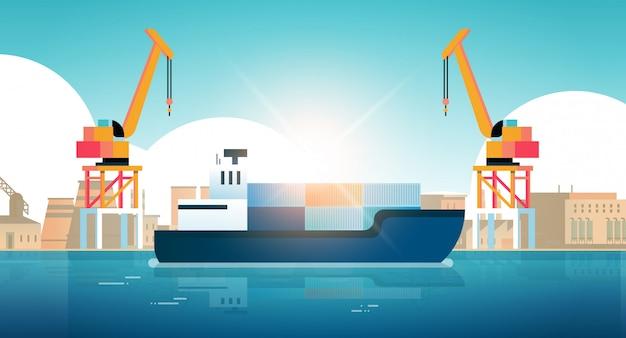 Kräne in hafenladecontainern auf schiffsladung Premium Vektoren