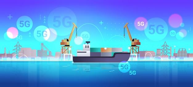 Kräne laden container auf schiff 5g online-wireless-system verbindung fracht industrie seehafen seetransport logistik seeschifffahrtskonzept industriegebiet hintergrund horizontal Premium Vektoren