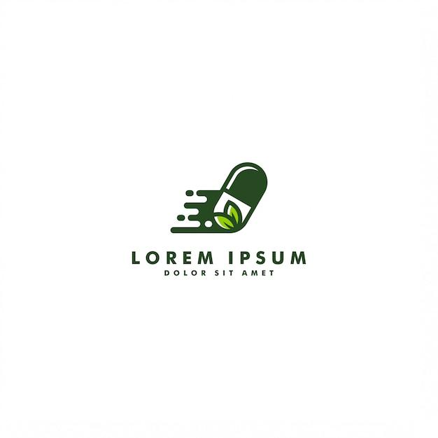 Kräuterkapselpillenblattmedizin-drogenlogovektor-ikonendesign Premium Vektoren