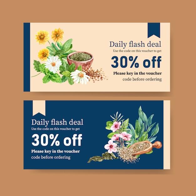 Kräuterteegutschein mit salbei, chrysantheme, kamillenaquarellillustration. Kostenlosen Vektoren