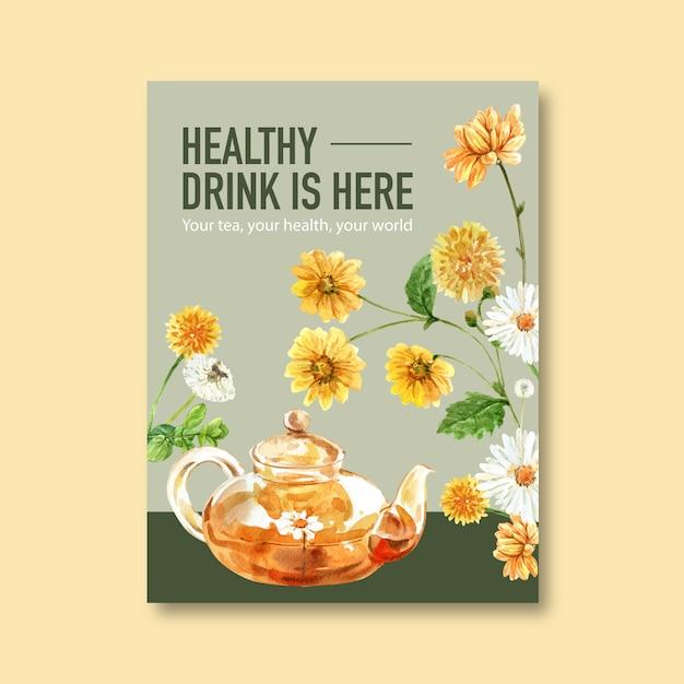 Kräuterteeplakat mit blatt, chrysantheme, kamillenaquarellillustration. Kostenlosen Vektoren