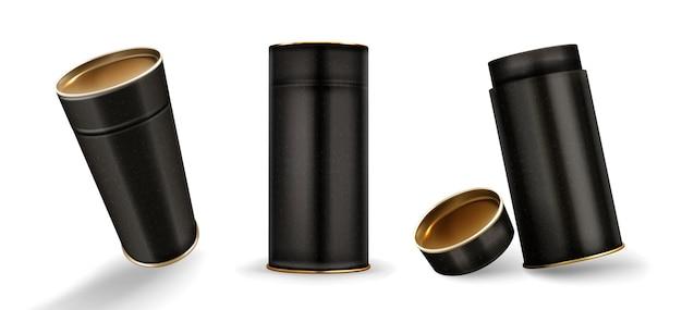 Kraftrohrboxen modell, geschlossene und offene pappzylinder von gesprenkelter schwarzer farbe Kostenlosen Vektoren