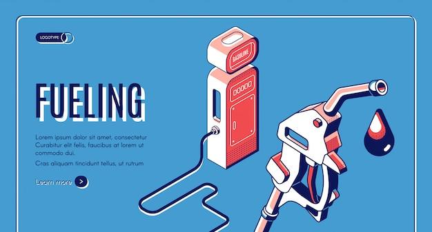 Kraftstoff, gas, benzin, diesel station isometrische web-banner. Kostenlosen Vektoren