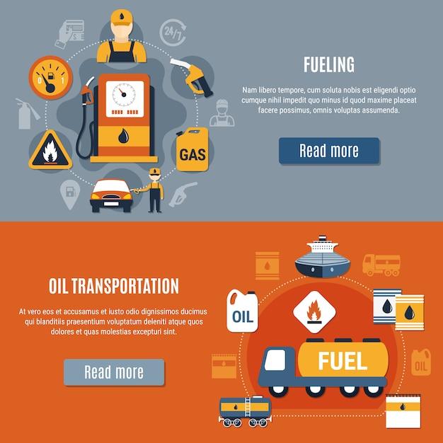 Kraftstoffpumpe banner set Kostenlosen Vektoren