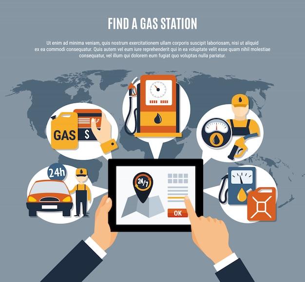 Kraftstoffpumpe infografik app Kostenlosen Vektoren
