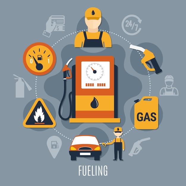 Kraftstoffpumpenkonzept Kostenlosen Vektoren