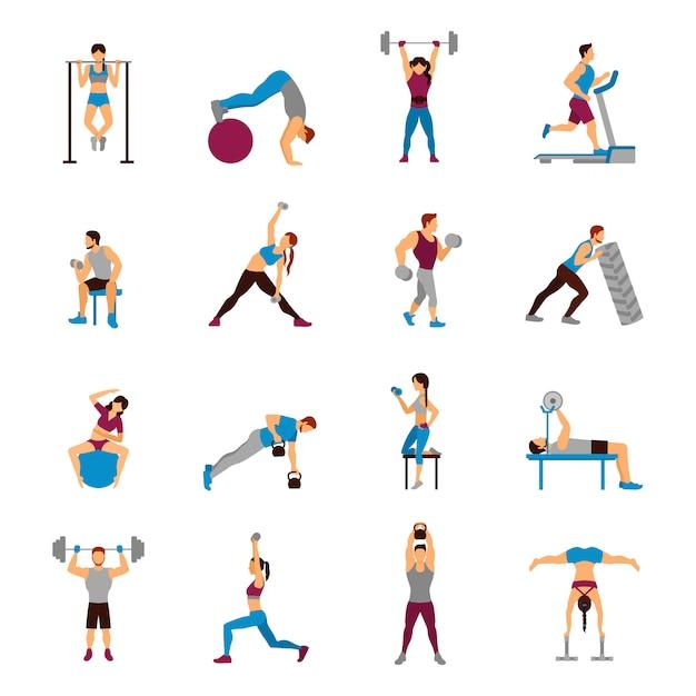 Krafttraining workout set Kostenlosen Vektoren
