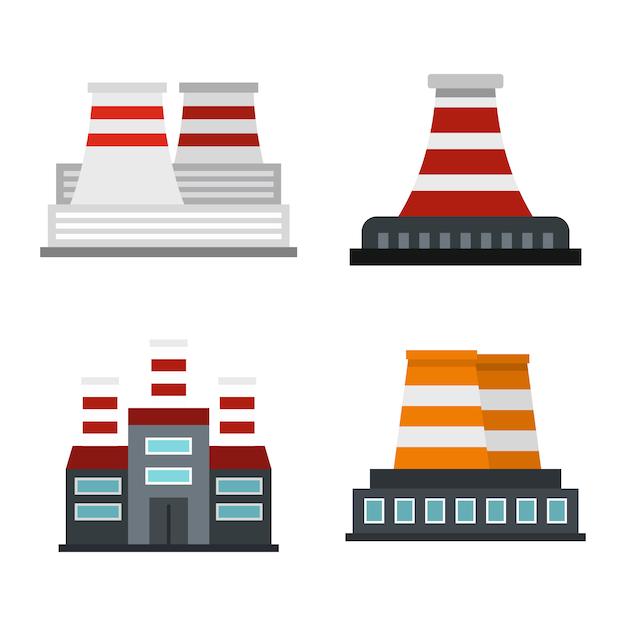 Kraftwerk-icon-set. flacher satz der kraftwerkvektor-ikonensammlung lokalisiert Premium Vektoren