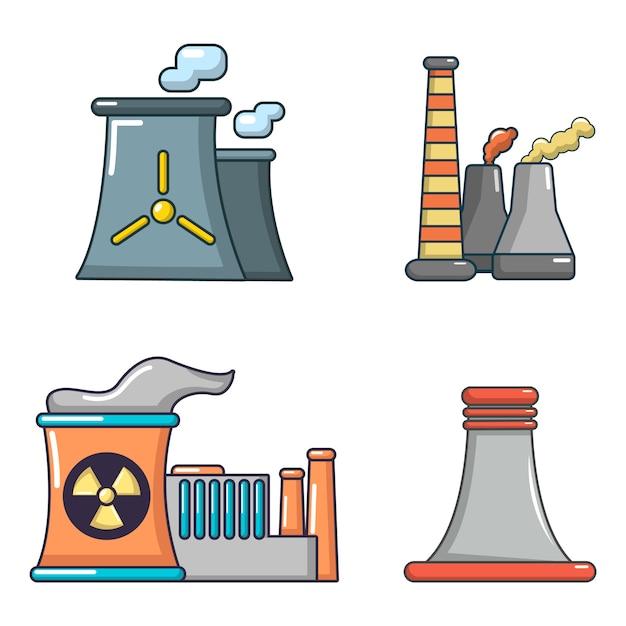 Kraftwerk-icon-set. karikatursatz kraftwerkvektorikonen eingestellt lokalisiert Premium Vektoren