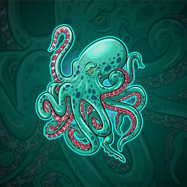 Kraken octopus maskottchen esport logo design Premium Vektoren