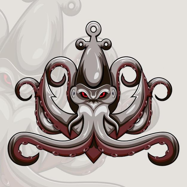 Kraken octopus maskottchen logo Premium Vektoren