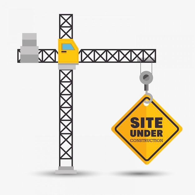 Kran hält website im bau symbol Kostenlosen Vektoren