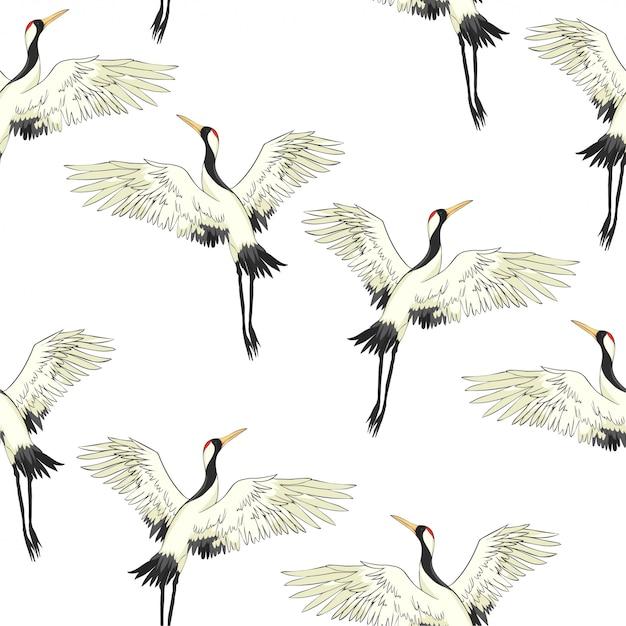 Kran vogel muster Premium Vektoren