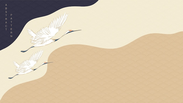Kranichvögel mit kurvenhintergrund. japanisches wellenmuster mit gewelltem element. Premium Vektoren