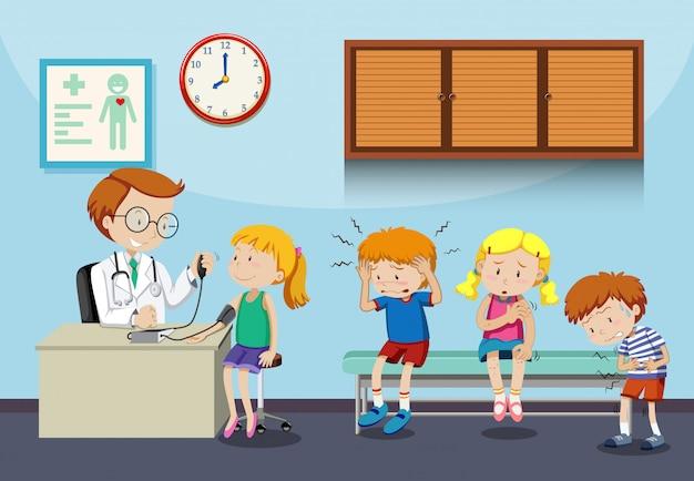 Kranke kinder warten auf ihren arzt Kostenlosen Vektoren