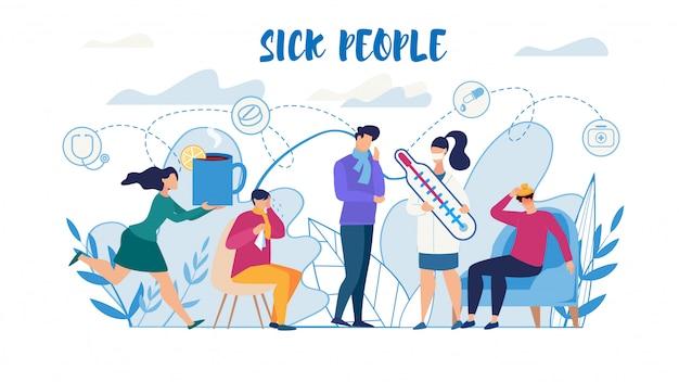 Kranke menschen, die unter grippe leiden, benötigen hilfsplakat Premium Vektoren
