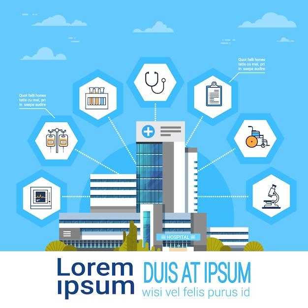 Krankenhaus-anwendungsschnittstellen-on-line-medizinische behandlungs-ikonen-moderne medizin-konzept-fahne Premium Vektoren
