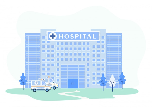 Krankenhaus-gebäudefassade mit notarztwagen Premium Vektoren