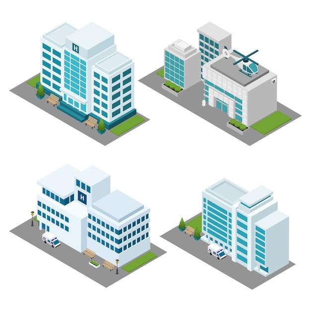 Krankenhaus isometrische icons set Kostenlosen Vektoren