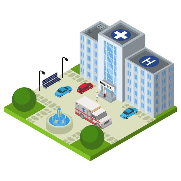 Krankenhaus isometrischer krankenwagen, illustration. medizinisches notfallauto des doktorcharakters nahe klinikkonzept. gesundheitswesen Premium Vektoren