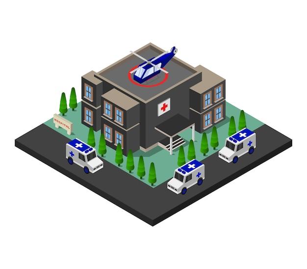 Krankenhaus isometrisches gebäude Kostenlosen Vektoren