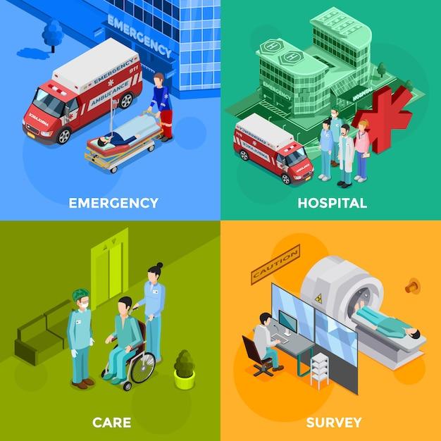 Krankenhaus-kartenset Kostenlosen Vektoren