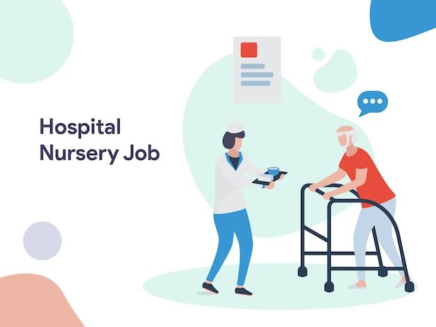 Krankenhaus-kindergarten-jobabbildung Premium Vektoren